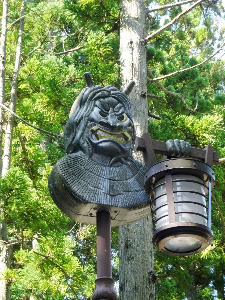 A namahage (ogre) on a street lamp near the museum on the Oga Peninsula