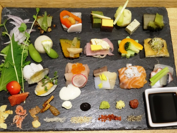 The mid-sized plate of DIY sushi at A-Womb