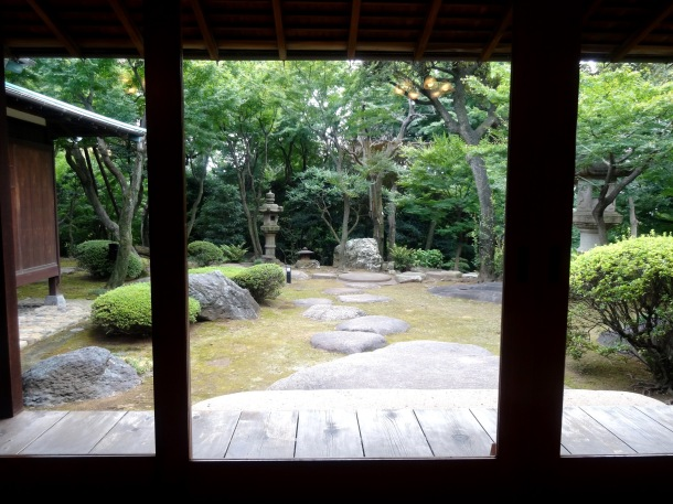 Overlooking the garden at the Kyu Asakura House