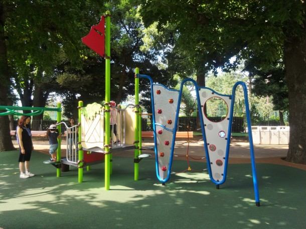 A smaller playground with climbing options