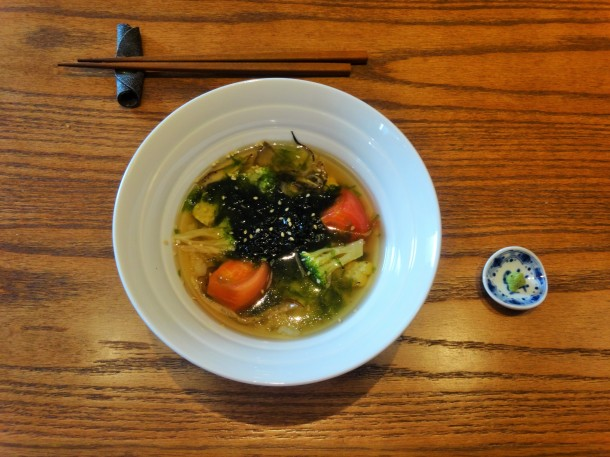 My main course of rice with cold vegetables in a broth