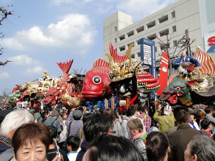 Floats outside the Karatsu train station
