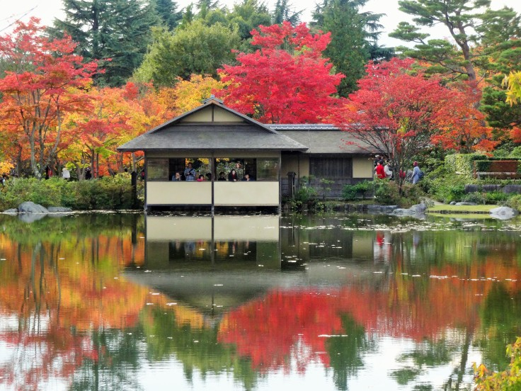 The tea house in the traditional garden of Showa Kinen Park